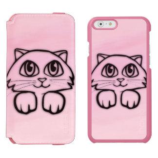 Cute  Big Eyed Cat Peeking Pink Incipio Watson™ iPhone 6 Wallet Case