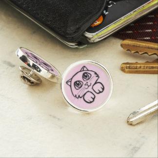 Cute  Big Eyed Cat Peeking Pink Lapel Pin