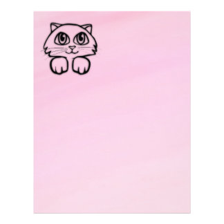 Cute  Big Eyed Cat Peeking Pink Letterhead