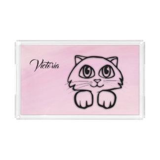 Cute  Big Eyed Cat Peeking Pink Personalized Acrylic Tray