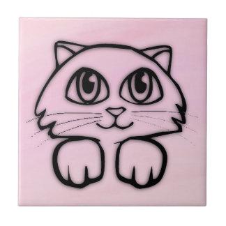 Cute  Big Eyed Cat Peeking Pink Tile