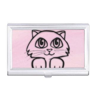 Cute  Big Eyed Cat Pink Business Card Holder