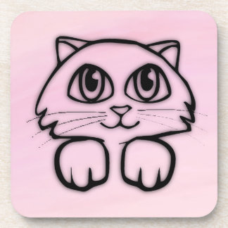 Cute  Big Eyed Cat Pink Coaster