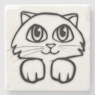 Cute  Big Eyed Cat Stone Coaster