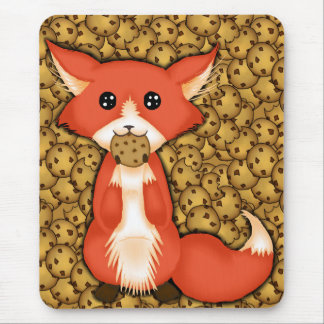 Cute Big Eyed Fox Eating A Cookie Mouse Pad