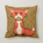 Cute Big Eyed Fox Eating A Cookie Throw Pillow