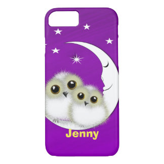 Cute Big Eyed Mother Baby Owls Personalized iPhone 7 Case