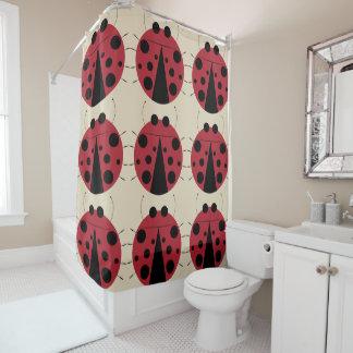 Cute Big Ladybugs Design Shower Curtain