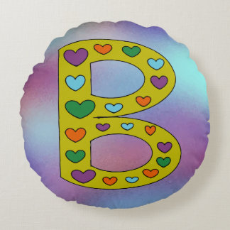 Cute Big Letter B Design Personalized Reversible Round Pillow