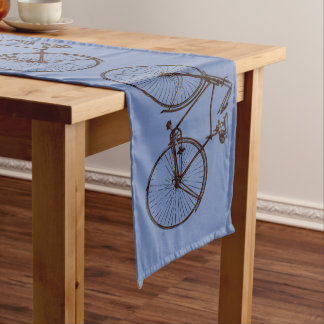 Cute bike bicycle table runner blue
