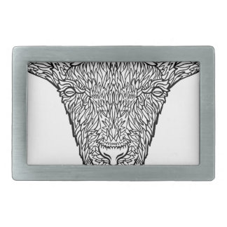 Cute Billy Goat Face Intricate Tattoo Art Belt Buckles