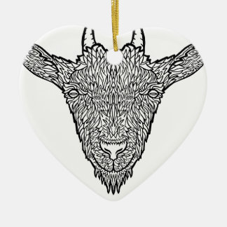 Cute Billy Goat Face Intricate Tattoo Art Ceramic Ornament