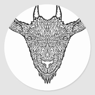 Cute Billy Goat Face Intricate Tattoo Art Classic Round Sticker