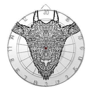 Cute Billy Goat Face Intricate Tattoo Art Dartboard