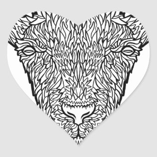 Cute Billy Goat Face Intricate Tattoo Art Heart Sticker