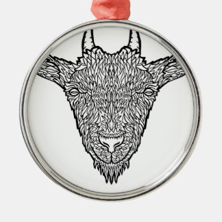 Cute Billy Goat Face Intricate Tattoo Art Metal Ornament