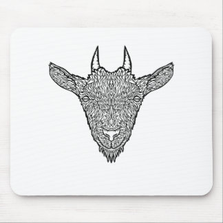 Cute Billy Goat Face Intricate Tattoo Art Mouse Pad