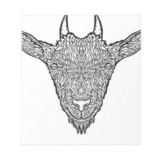 Cute Billy Goat Face Intricate Tattoo Art Notepad