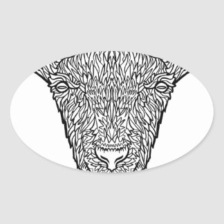 Cute Billy Goat Face Intricate Tattoo Art Oval Sticker