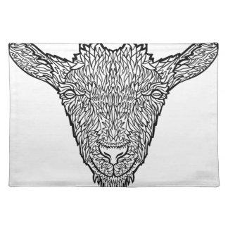 Cute Billy Goat Face Intricate Tattoo Art Placemat