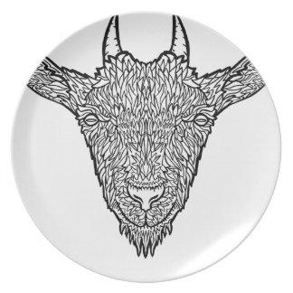 Cute Billy Goat Face Intricate Tattoo Art Plate