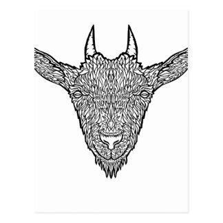 Cute Billy Goat Face Intricate Tattoo Art Postcard