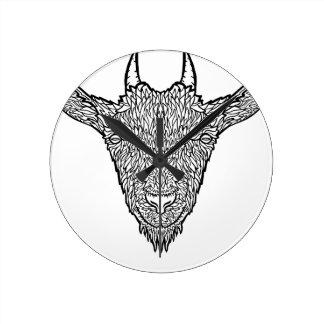 Cute Billy Goat Face Intricate Tattoo Art Round Clock