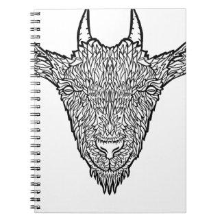 Cute Billy Goat Face Intricate Tattoo Art Spiral Notebook