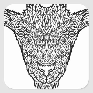 Cute Billy Goat Face Intricate Tattoo Art Square Sticker