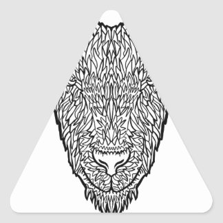 Cute Billy Goat Face Intricate Tattoo Art Triangle Sticker