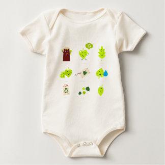 Cute bio kids icons green baby bodysuit
