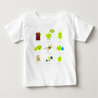 Cute bio kids icons green baby T-Shirt
