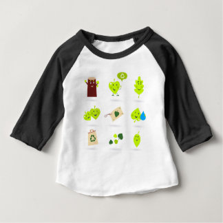 Cute bio kids icons green baby T-Shirt