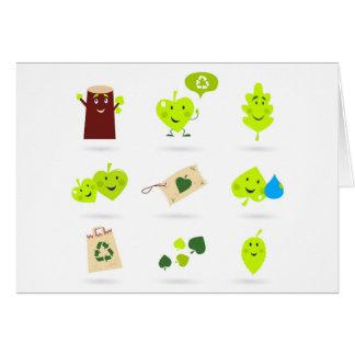 Cute bio kids icons green card