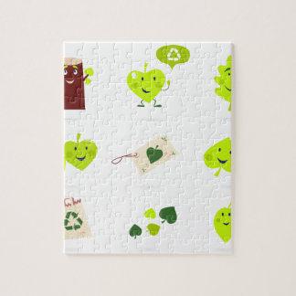 Cute bio kids icons green jigsaw puzzle