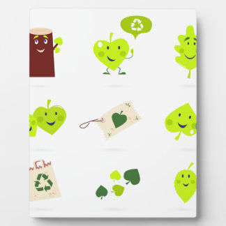Cute bio kids icons green plaque
