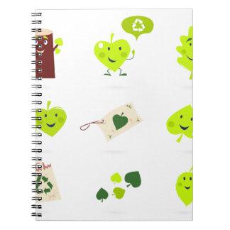 Cute bio kids icons green spiral notebook