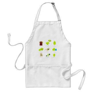 Cute bio kids icons green standard apron