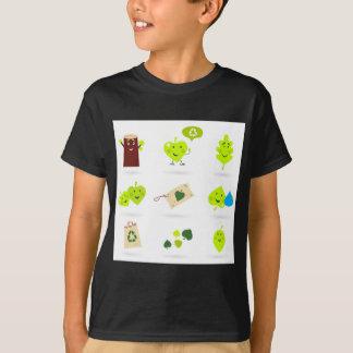Cute bio kids icons green T-Shirt