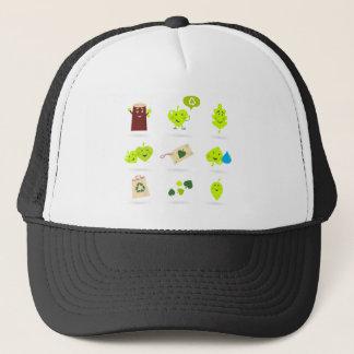 Cute bio kids icons green trucker hat
