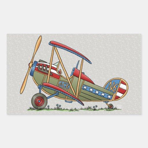 Cute Biplane Rectangle Stickers
