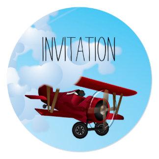 "Cute BiPlane's Cartoon 5.25"" Square Invitation Card"