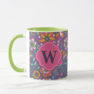 Cute Bird and Floral Purple Pattern Mug - Monogram
