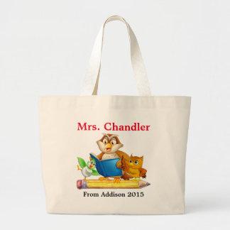 Cute Bird and Owl Teacher Tote Bag