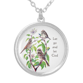 Cute Bird Family Inspiring Quote Let Go Let God Silver Plated Necklace