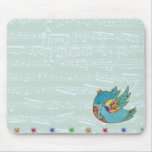 Cute bird flying and singing mouse pad