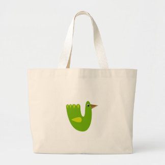 Cute bird green on white large tote bag