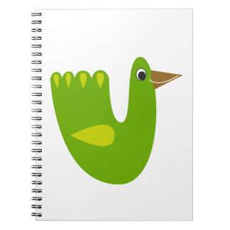 Cute bird green on white notebooks