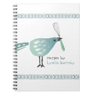 Cute bird kitchen whisk recipe notebook cookbook