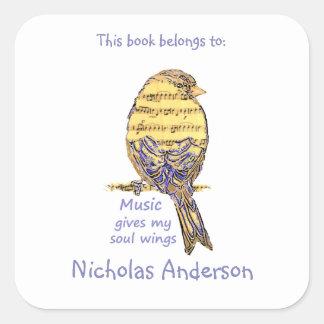 Cute Bird Music give Wings Quote  Bookplate Square Sticker